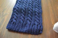 Navy Blue Cable Knit Scarf by nosleeptilnewyork on Etsy, $45.00