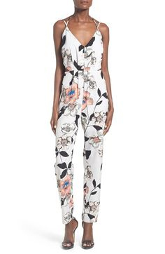 Leith Strappy Floral Print Jumpsuit available at #Nordstrom