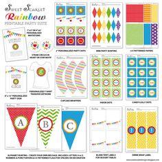 Rainbow Birthday Party Printable Set   by SweetScarletDesigns, $30.00