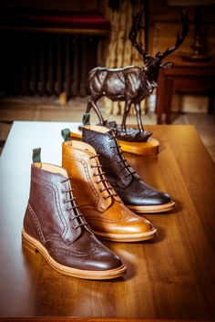 Brogue detail lace-up boots by NPS, in burgundy, acorn and brown. Goodyear welted soul and impeccable detail. Highest quality leather and Goodyear Welted Soul. Available at http://www.shoes121.co.uk/brands/nps