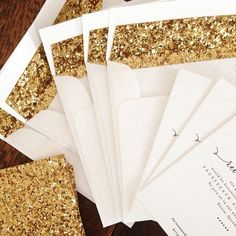 """""""Flashback to these letterpress invitation stunners! Black and blind letterpress on white 100% cotton paper with our heavy gold glitter linings. LOVE! ✨ #letterpress #invitations #weddinginvitations"""" Photo taken by @bespokepress on Instagram, pinned via the InstaPin iOS App! http://www.instapinapp.com (03/15/2015)"""