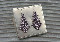 Purple Beaded Earrings by CatchTheBeads on Etsy