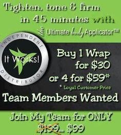 Don't miss your chance to become a It Works consultant for $99 email me for more details on how to get started. Babygirl070683@gmail.com or find me on Facebook at www.facebook.com/wrappingwithjes