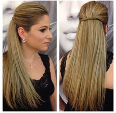 Hairstyle idea for dinner in town - ChicLadies. Slick Hairstyles, Formal Hairstyles, Headband Hairstyles, Hairstyles Haircuts, Down Hairstyles, Pretty Hairstyles, Straight Hairstyles, Straight Hair Dos, Straight Wedding Hair