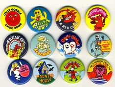 Ice lolly badges Lyons Maid. I still have the top left one from my youth!