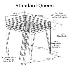 Queen Loft Bed - our full size loft bed plans can be easily modified to hold a queen size mattress - just call us!