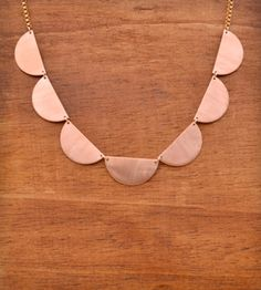 Scallop Collar Necklace - Copper by Jennie Claire on Scoutmob Shoppe. Statement necklace with vintage brass scallops with a vintage Chanel box chain. $75