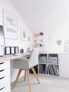 Minimalistic home office for small spaces! Setup a home office and increase your work productivity now! Ikea Office, Loft Office, Office Workspace, Small Workspace, Office Table, Small Office, Loft Design, Home Office Design, Home Office Decor