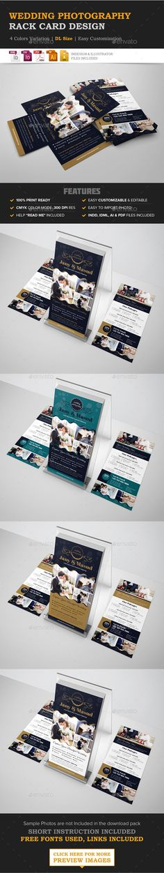 Buy Wedding Photography Rack card Design Template by JanySultana on GraphicRiver. *Wedding Photography Rack card Design Template Ready to use for wedding photography rackcare, model photography, phot. Web Design, Graphic Design, Rack Card, Corporate Flyer, Corporate Business, Flyer Layout, Business Flyer Templates, Postcard Design, Best Budget