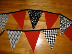 Red, White & Black Modern Fabric Bunting Banner - Wedding - Shower - Photo Prop - Room Decor - Classroom - Wedding Shower - 9 Large Flags