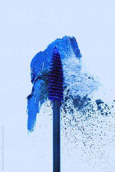 Blue mascara and powder makeup, stylized cosmetic product photography Azul Pantone, Pantone 2020, Pantone Color, Pantone Blue, Mood Board Inspiration, Color Inspiration, Style Bleu, Snorkel Blue, Blue Mascara