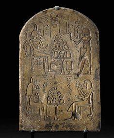 AN EGYPTIAN LIMESTONE STELE   New Kingdom, Dynasty XIX-XX, 1307-1070 B.C.
