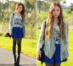 Chloe T - Romwe Blazer, Evil Twin Suede Skirt, Romwe Tiger Top - Puzzled by Geometry