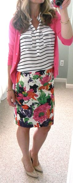 J. Crew Factory floral pencil skirt and pink cardigan, F21 black and white stripe sleeveless blouse, nude pumps