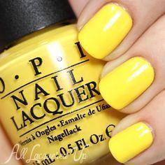 Yellow Toe Nails, Yellow Nail Polish, Yellow Nail Art, Nail Polish Colors, Green Nail, Bright Nails, Essie Good To Go, Hello Kitty Nail Polish, Split Nails