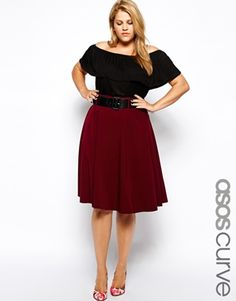 Asos Curve Exclusive Midi Skirt with Highwaist and Belt in Wine.