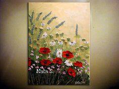 Pintura original moderno flores silvestres espátula Impasto