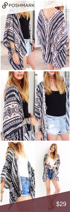 Navy/ Beige Boho Aztec Kimono/ Cover Up Casual Bohemian Aztec Print beach cover up/ Kimono. Made of 100% Viscose. Available in Beige/ navy or black/ white. One size fits most.  This listing is for navy/ beige Fabfindz Accessories Scarves & Wraps