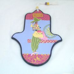 Purple backround Pink Yellow Green Gold Hamsa  by Galleros on Etsy, $24.00
