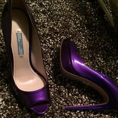 Prada sandals Beautiful Authentic purple sandals. Great condition. Comes with box and duster. Prada Shoes Sandals