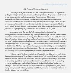 Business Graduate School Personal Statement Example