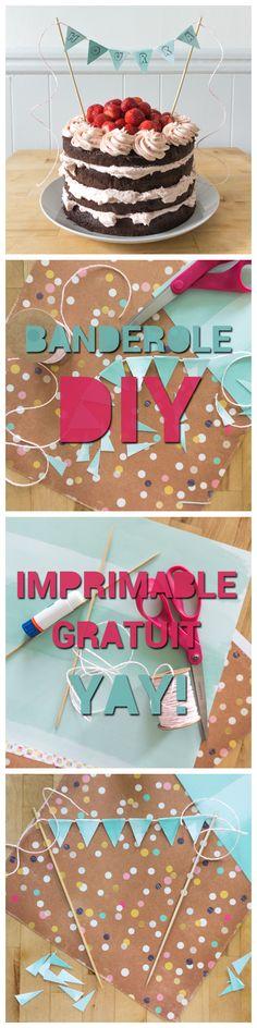 Jolie banderole à gâteau de fête DIY! Version imprimable gratuite - YAY - HOURRA - WHATEVER - Easy DIY birthday cake banner tutorial! Free printable version! Carton Carton