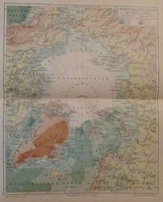 1896 NORD-POLARLÄNDER Nordpol alte Landkarte Karte Antique Map Lithographie