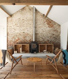 fireplace + plywood + rustic
