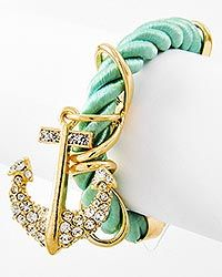 Gold Tone /  Rhinestone & Mint Cord / Lobster-claw / Anchor Charm Bracelet