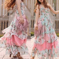 Boho Maxi Dress Chiffon Dress Summer Floral Dress Beach Dress Bohemian Sundress