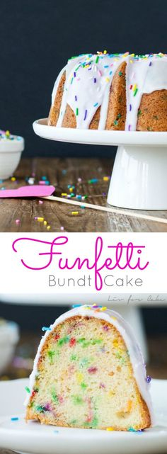 A delicious vanilla funfetti Bundt cake, topped with a simple glaze and lots of sprinkles. | livforcake.com
