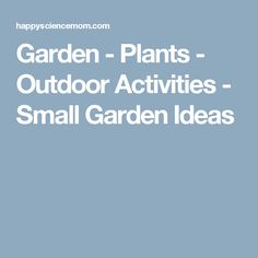 Garden - Plants - Outdoor Activities - Small Garden Ideas