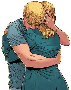 This panel makes me cry. Look at that hug. Inks: Jamie McKelvie <3, colors by Matt Wilson. (Young Avengers #1)