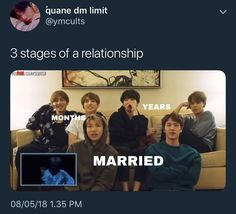 Lol Poor j-hope he isn't here I feel like hobi gets missed out too much in these pictures But these are true enough I guess Taekook -months Yoonmin - years Namjin - married ( mom + dad )