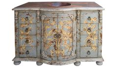 HAND PAINTED BATHROOM VANITY COPPER TOP KING LIMA | Furniture, Finds and More