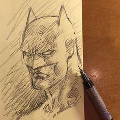 "Final Jim Lee Batman 4 min rough sketch video ""#happyclouds"""