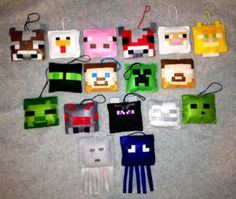 Minecraft Inspired Christmas Tree Ornaments - Sets of 6 - 17 to Choose Felt Christmas, Homemade Christmas, Christmas Projects, Holiday Crafts, Fun Crafts, Crafts For Kids, Minecraft Party, Minecraft Room, Minecraft Stuff