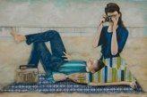 """Candid Camera"" original mixed media acrylic painting by Melissa Belanger"