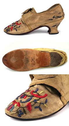 Yellow satin latchet shoes, 1740-1750, American Colonies, decorated with colorful embroidery on the vamp and solver thread embroidery on the heel. Mustard silk. Toe is flat, covered with embroidery. Lining is made of leather and flax, french heel is covered with silk. Shoe icons: http://eng.shoe-icons.com/collection/object.htm?id=1749
