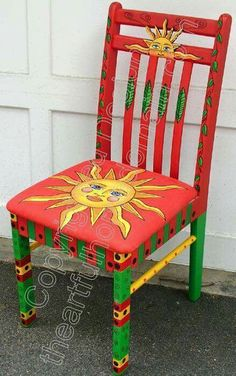 Reciclagem de cadeiras artesaniasmexicanasdiy is part of Hand painted chairs - Hand Painted Chairs, Painted Benches, Whimsical Painted Furniture, Hand Painted Furniture, Funky Furniture, Colorful Furniture, Art Furniture, Furniture Projects, Furniture Makeover