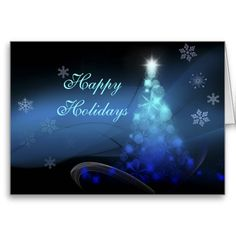 Happy Holidays -Blue Christmas Tree Card