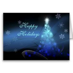 Happy Holidays -Blue Christmas Tree Card