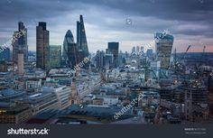 Panoramic view City of London at sunset. River Thames and London bridge