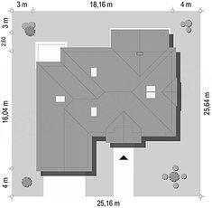 Usytuowanie projektu Willa parkowa B na działce Bar Chart, Floor Plans, Angled Ceilings, Two Story Houses, Guitar, Bar Graphs, Floor Plan Drawing, House Floor Plans