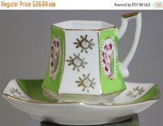 Excited to share this item from my shop: ON SALE NOW Vintage Royal Sealy Green Floral Demi Tasse Footed Tea Cup Special Girl, Hostess Gifts, Etsy Vintage, Tea Cups, Floral Design, Gifts For Her, Hand Painted, Mugs, Unique Jewelry