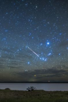 Beautiful view of a streaking meteor and the Orion constellation above Lake Bumbunga, AustraliaImage copyright: Silveryway on Flickr.