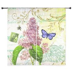 Modern vintage French botanical lilac Curtains