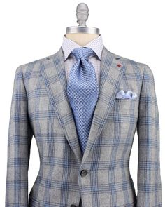 Isaia Grey with Blue Plaid Sportcoat