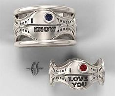 Declare your undying love to the entire galaxy using the Stars Wars wedding rings. When exchanging vows with your Princess, there's no better  way to show off your geeky love than by giving each other these tasteful and totally epic silver wedding bands.