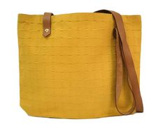 #HERMES Amedaba Cabas de Poche Shoulder Bag Cotton/Leather Yellow (BF103023): #eLADY global accepts returns within 14 days, no matter what the reason! For more pre-owned luxury brand items, visit http://global.elady.com